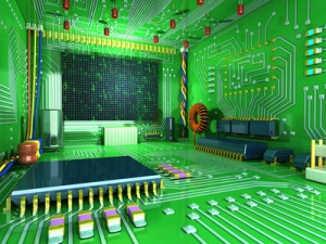 Fantasy digital room. Futuristic home inside. All in the interior made of electronic components